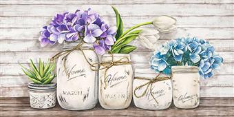 Cuadro canvas flores hydrangeas in mason jars