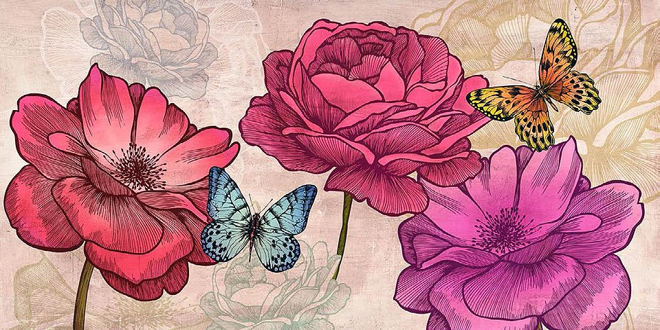 Cuadro canvas flores roses and butterflies