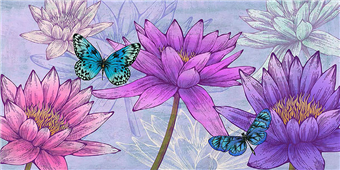 Cuadro canvas flores nympheas and butterflies