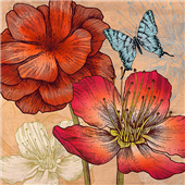 Cuadro canvas flores flowers and butterflies