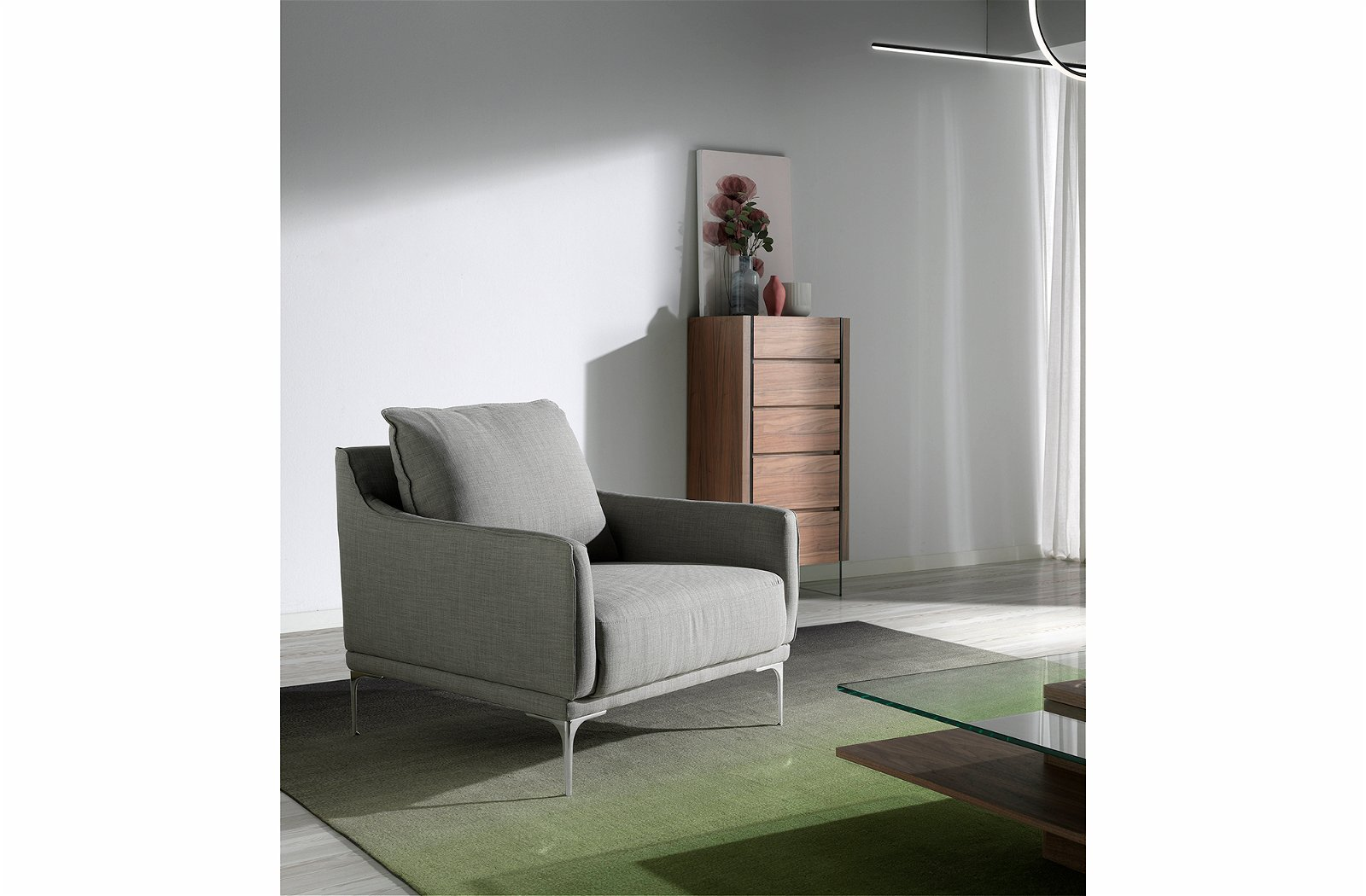 Butaca tapizada en tela patas cromadas Taormina Angel cerda