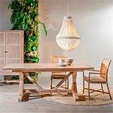 Mesa comedor madera mindi gris rozado