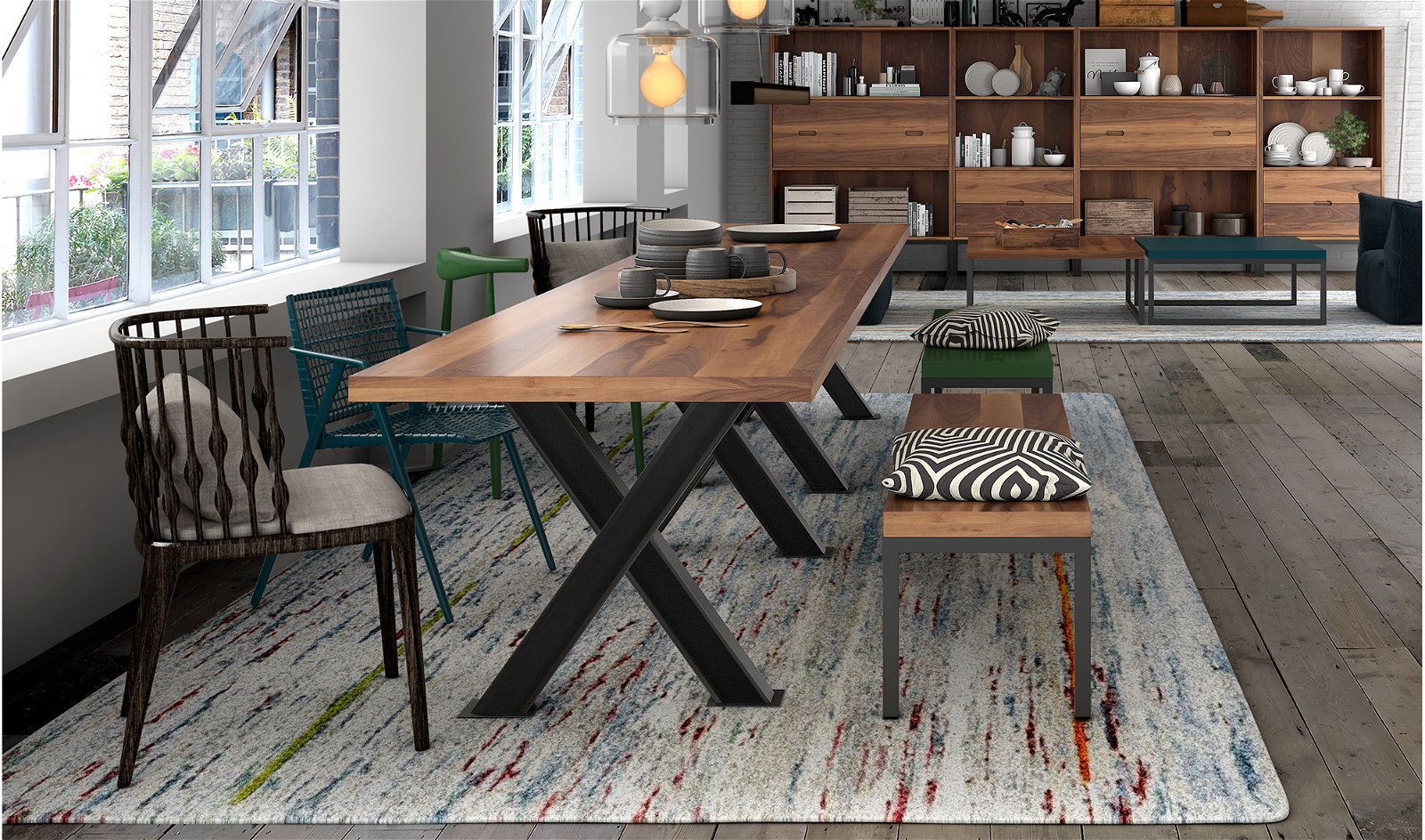 Mesa de comedor cruceta industrial Loft