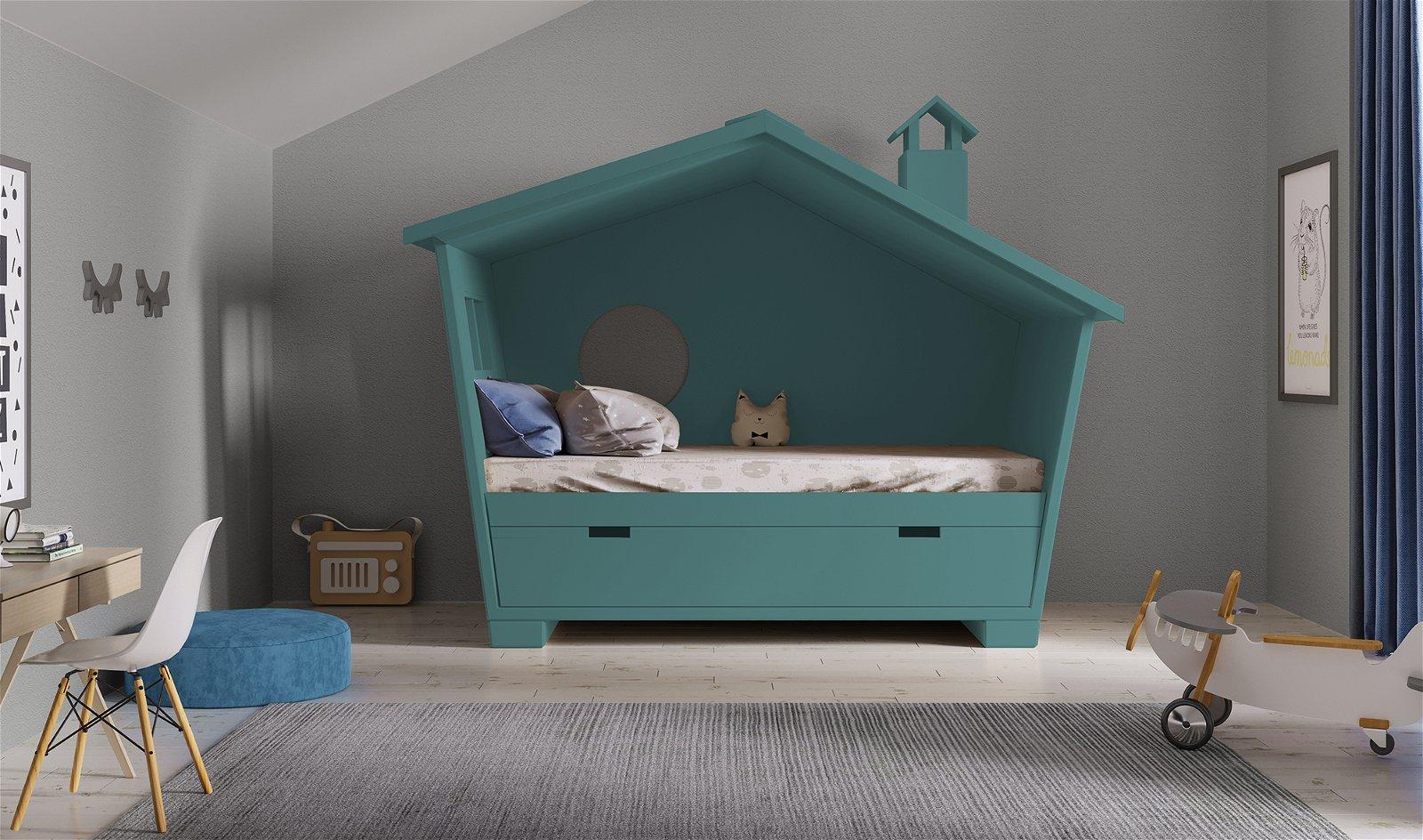 Cama infantil 1 cama 2 aguas Casita