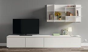 Mueble tv blanco lacado Lesoi