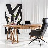 Mesa de escritorio caballetes de madera de olmo 2 cajones