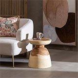 Mesa auxiliar madera suar forma copa invertida