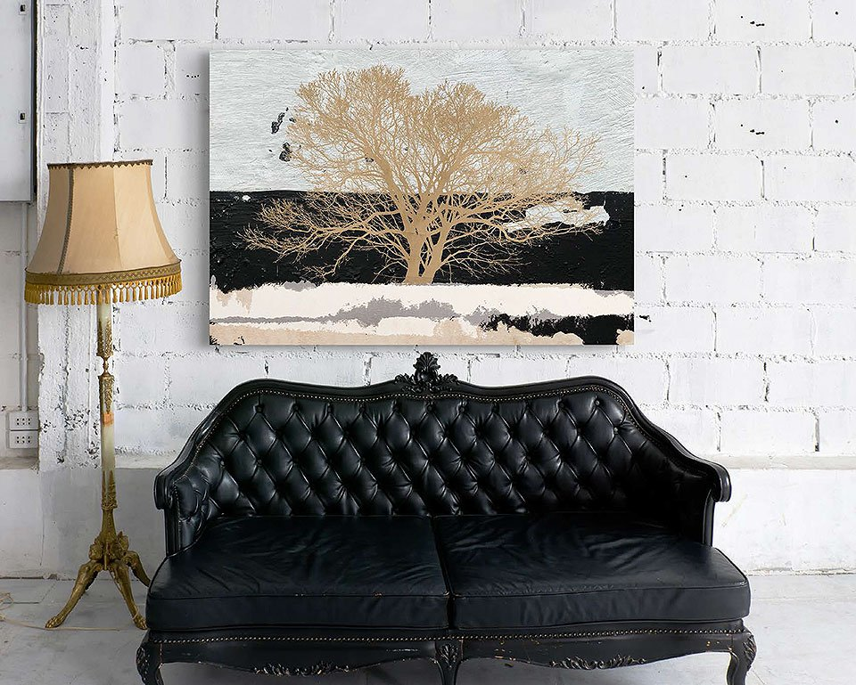 Cuadro canvas golden tree
