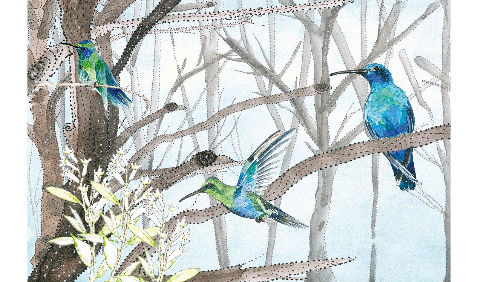 Papel pintado Colibri Glamora by Silvia Betancourt