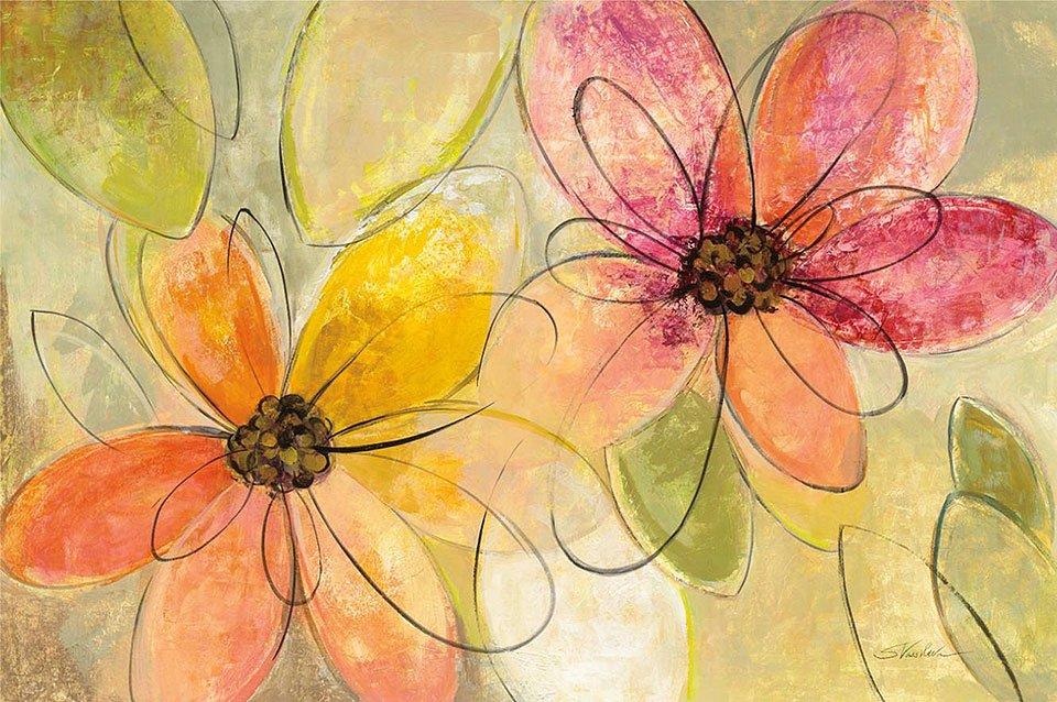 Cuadro canvas neon floral