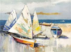 Cuadro canvas barche sulla spiaggia