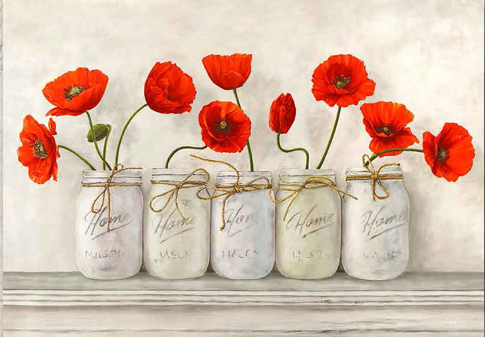 Cuadro canvas red poppies in mason jars