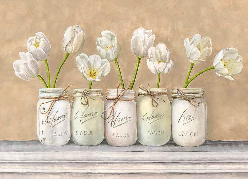 Cuadro canvas white tulips in mason jars