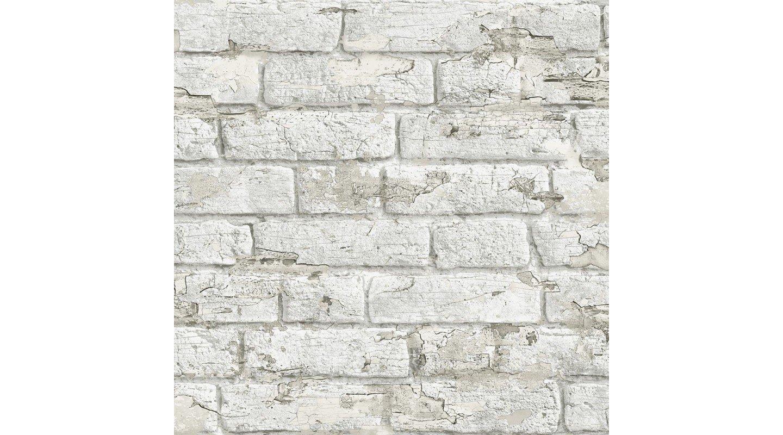 Papel pintado ladrillos blanco desgastado by Koziel
