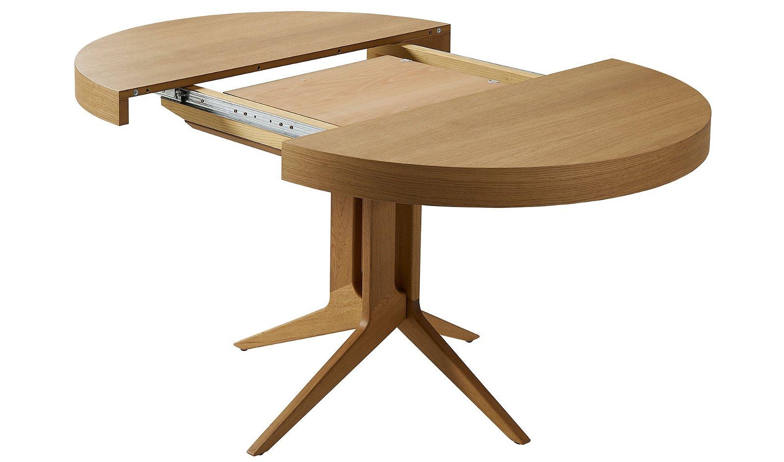 Mesa de comedor redonda extensible roble Dreslon