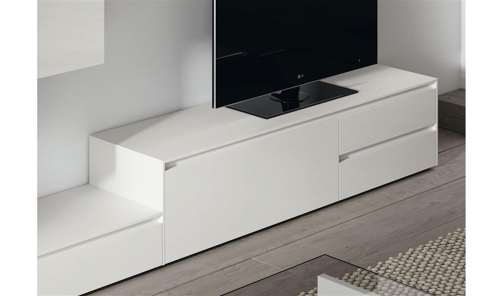 Mueble tv blanco lacado Naica