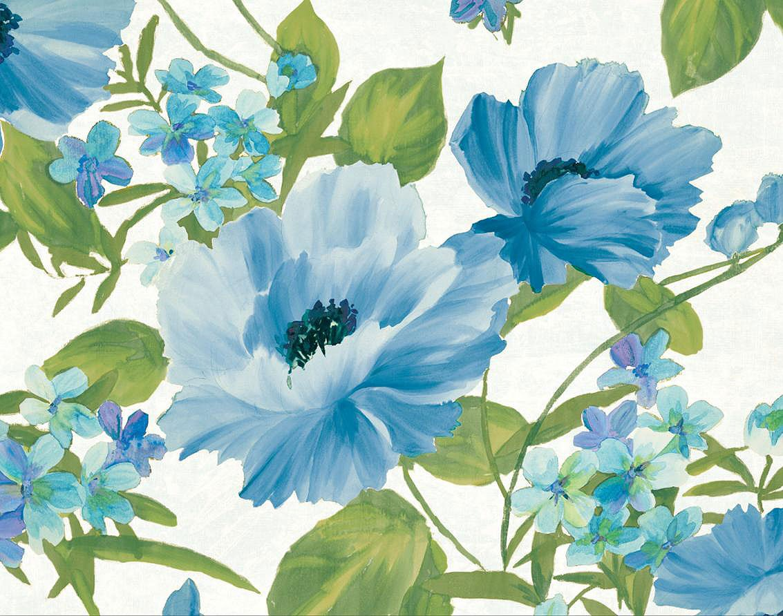 Cuadro canvas summer poppies blue