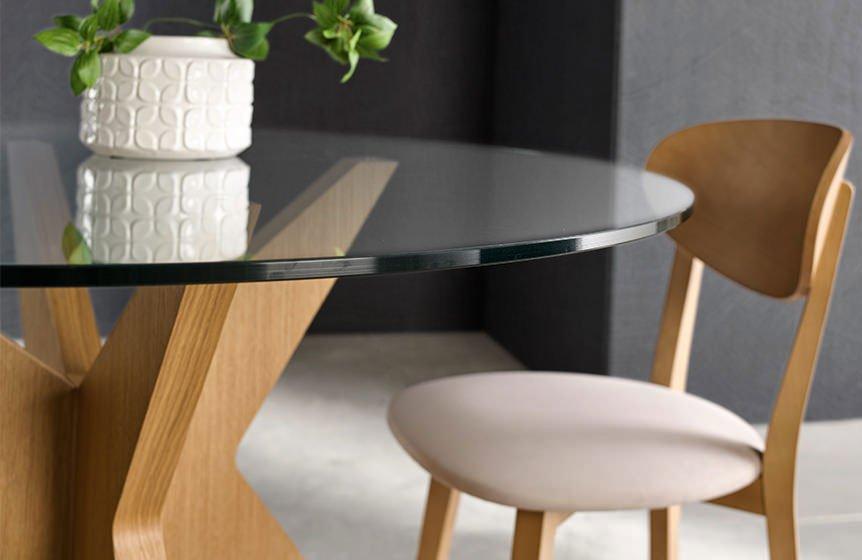 Mesa de comedor roble y cristal Roma