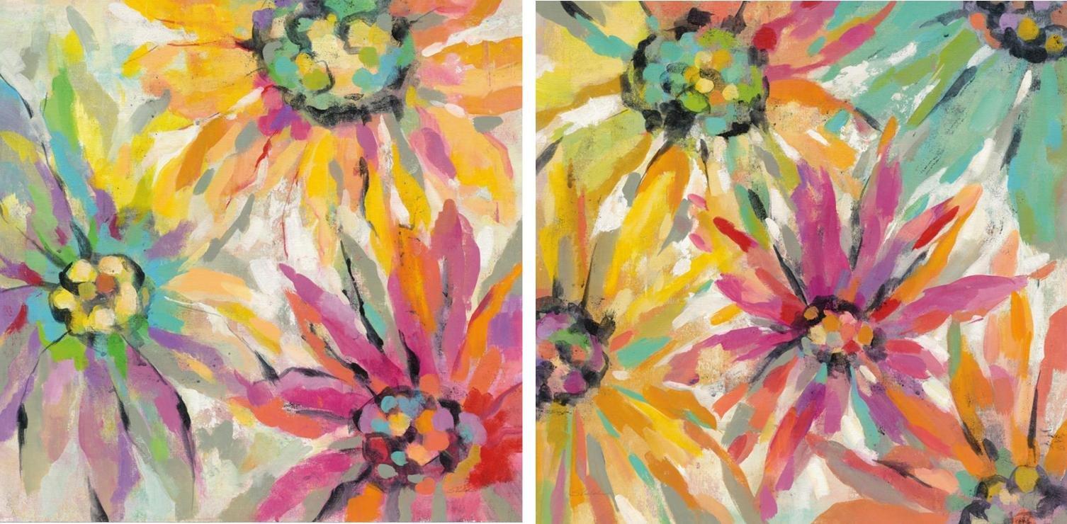 Pareja de cuadros abstracted petals
