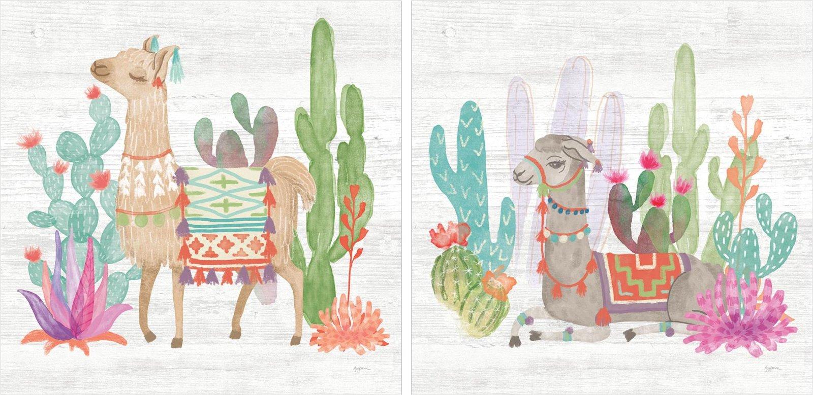 Pareja de cuadros lovely llamas
