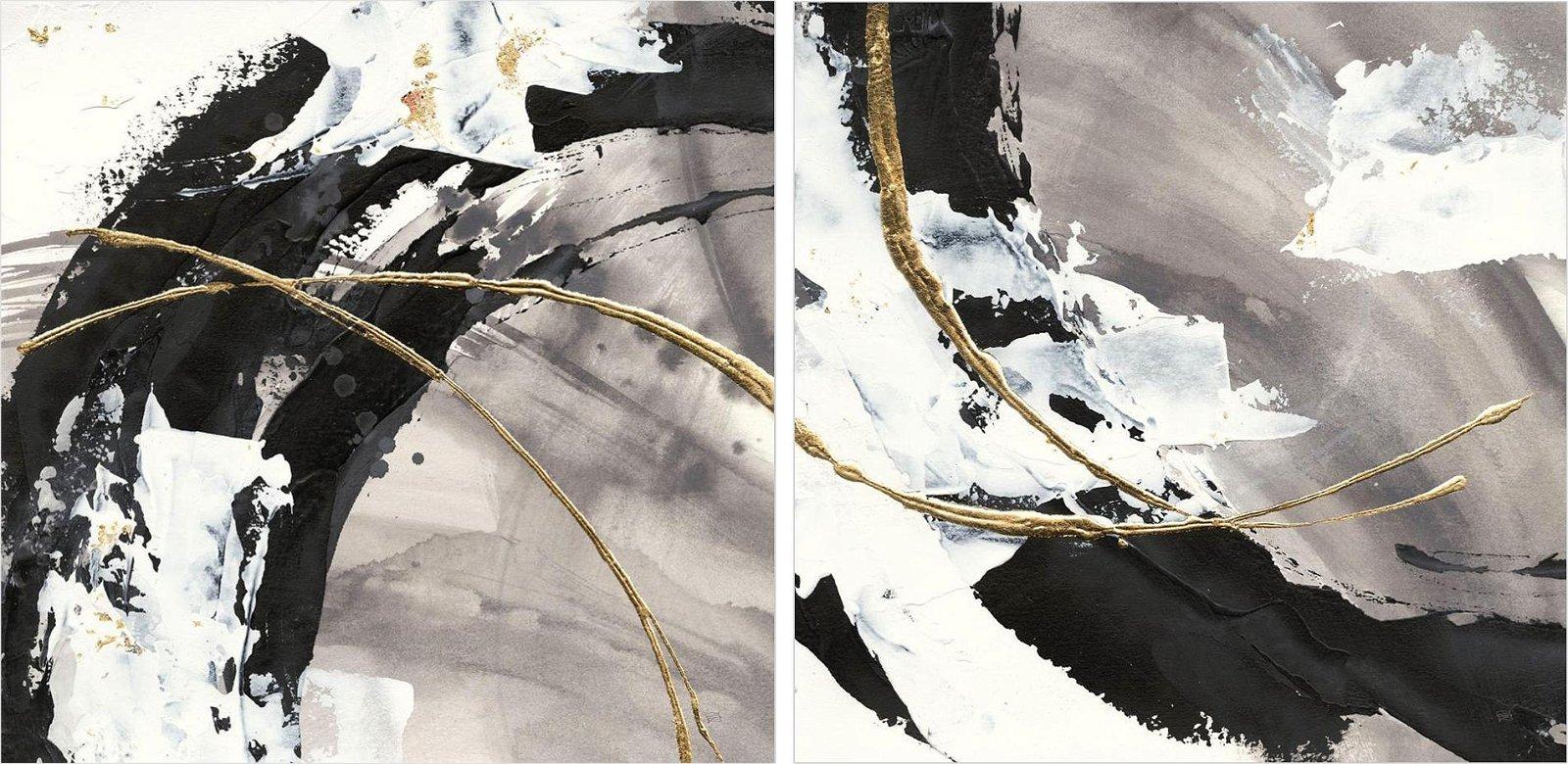 Pareja de cuadros abstractos gilded arcs