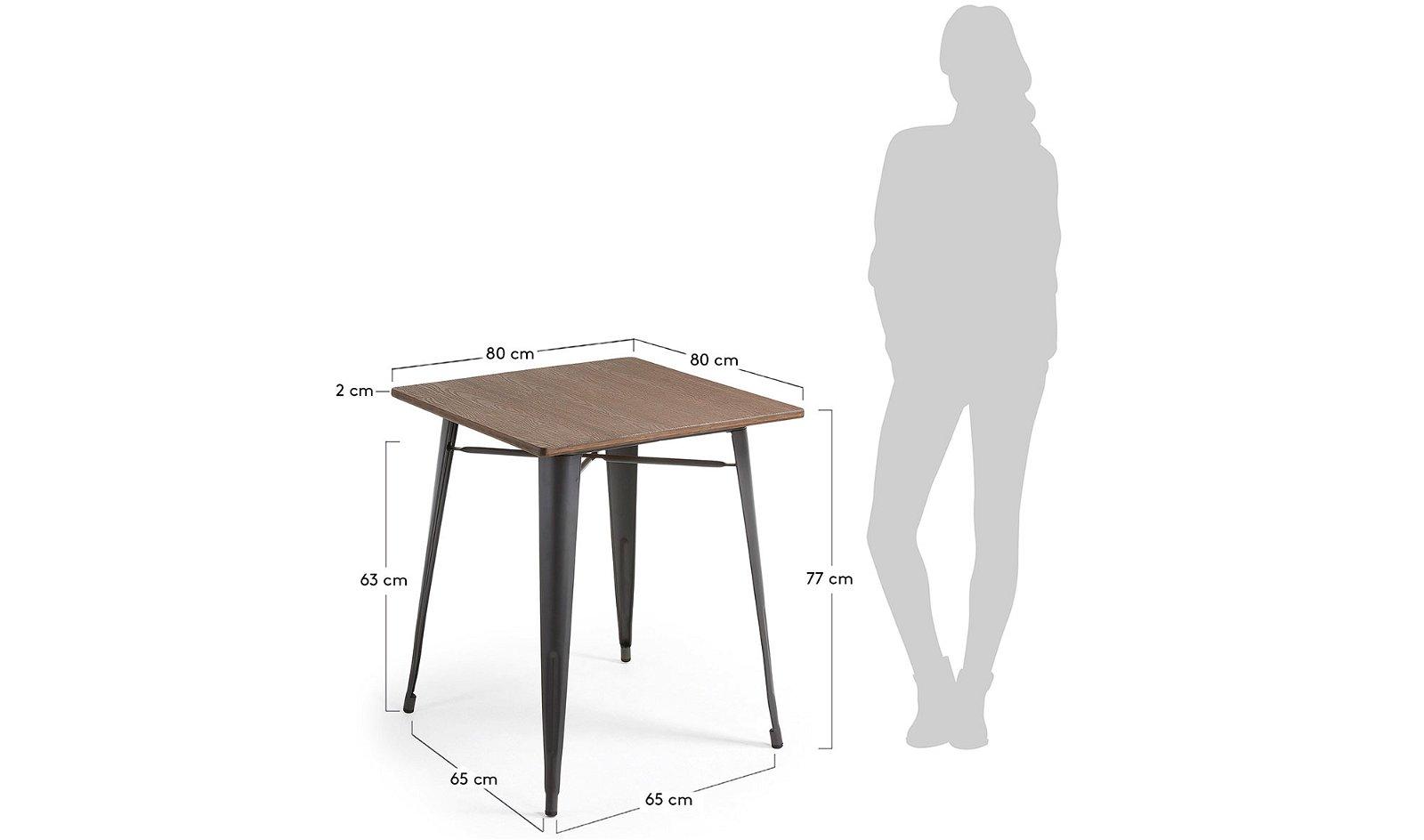 Mesa comedor cuadrada industrial Bulima