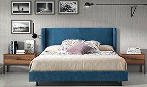 Cabecero y cama tapizada industrial Loft