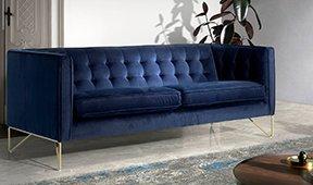 Sofá moderno tapizado y acero Triestino
