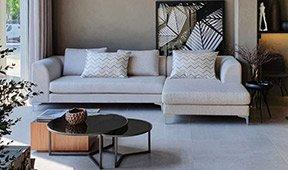 Sofá con chaise longue de diseño Beata