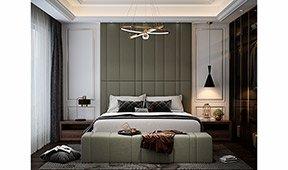 Cabecero y cama tapizada alta Ferni