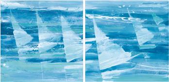 Pareja de cuadros summer sail blue