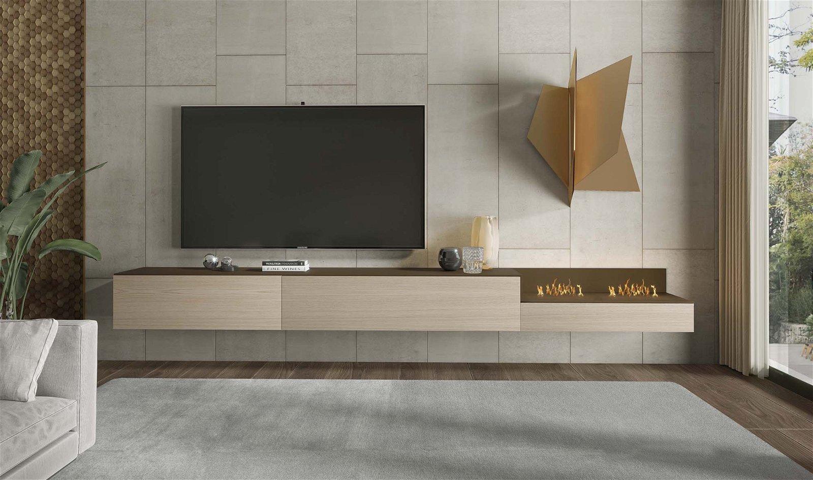 Mueble de tv Treviso con chimenea eléctrica