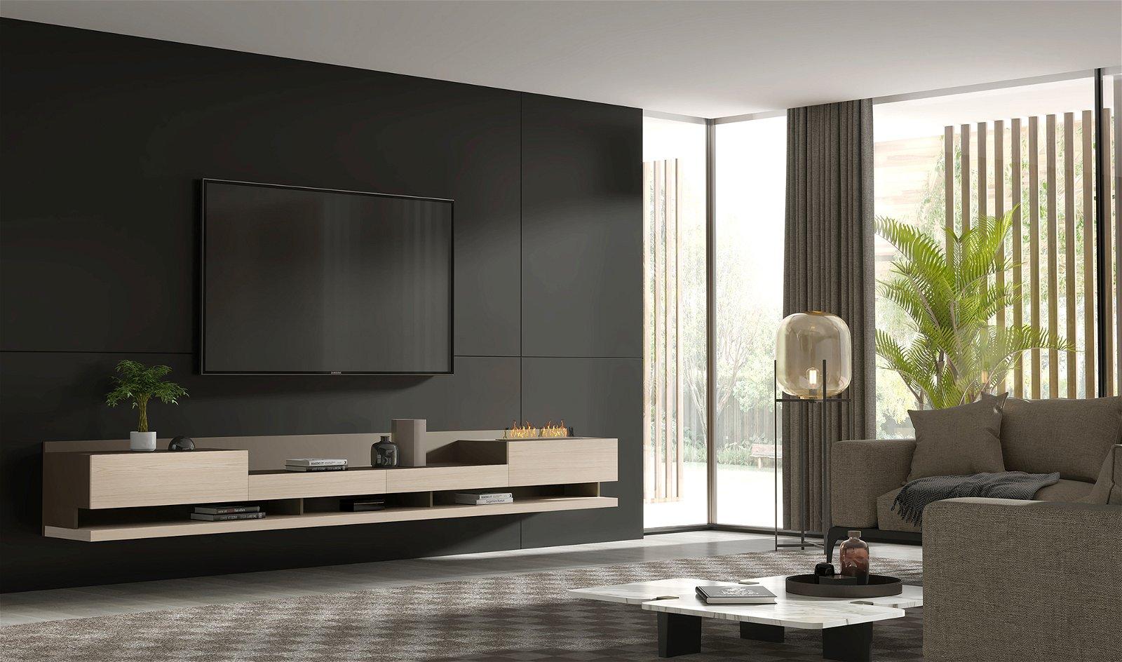 Mueble de tv Florencia con chimenea eléctrica