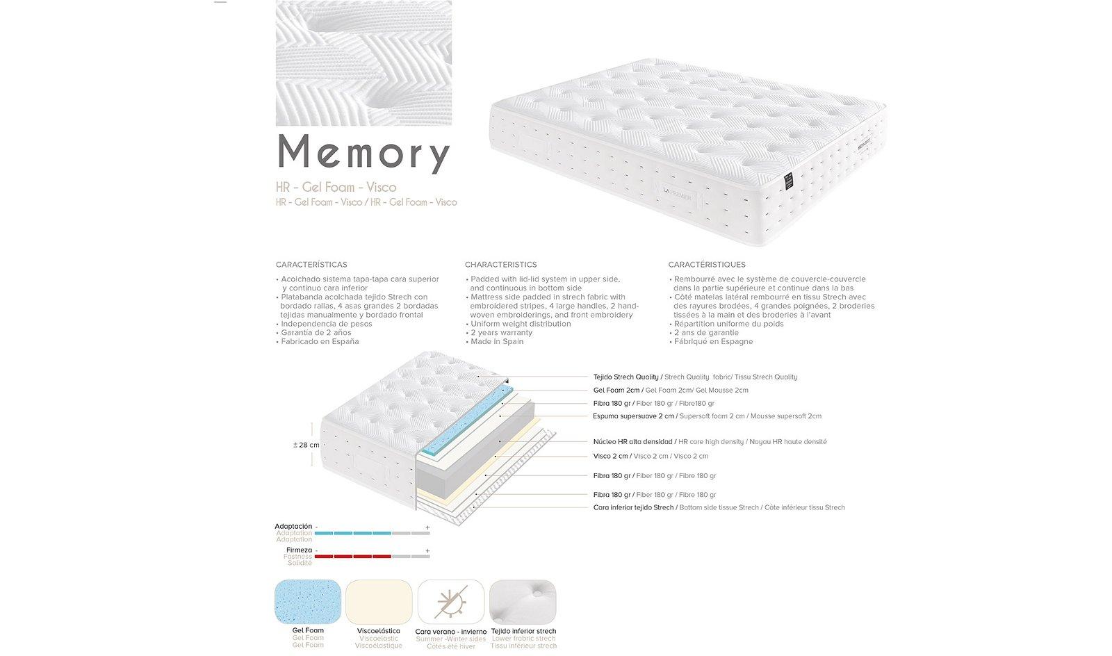 Colchón gel foam Memory