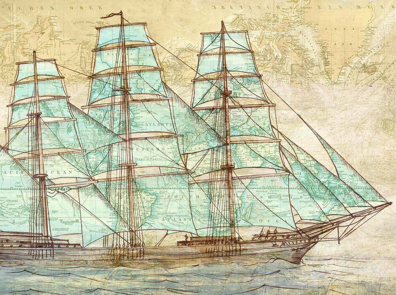 Cuadro canvas sailing to the world