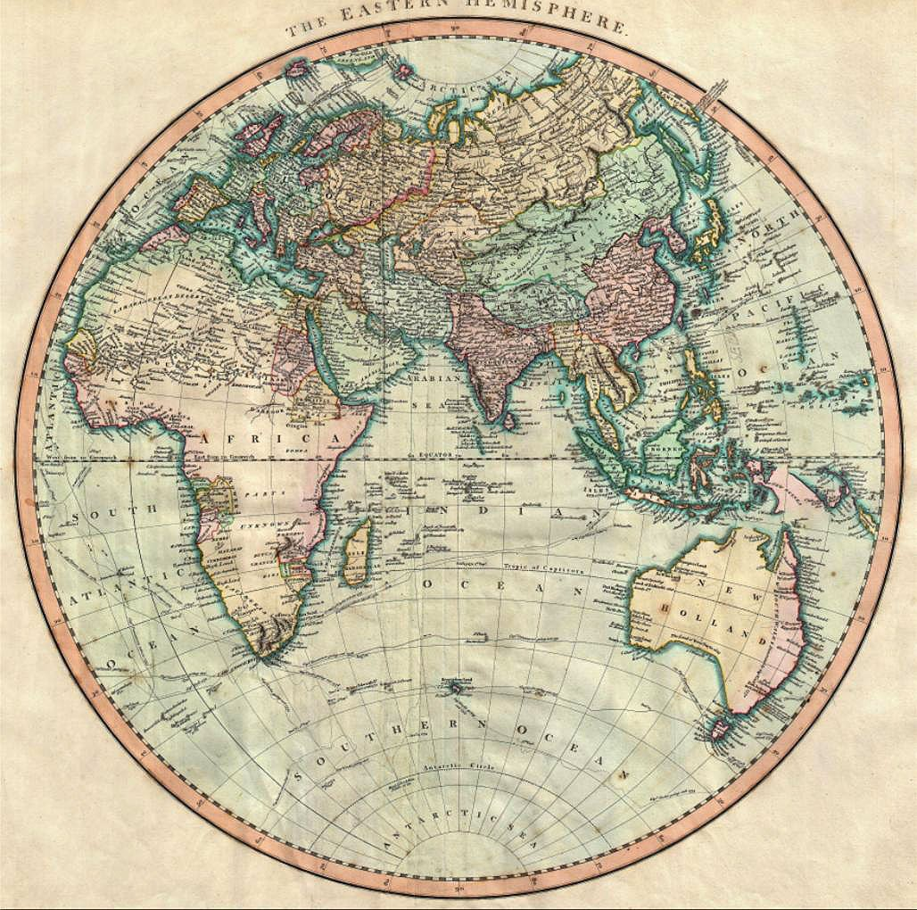 Cuadro canvas map of the eastern hemisphere