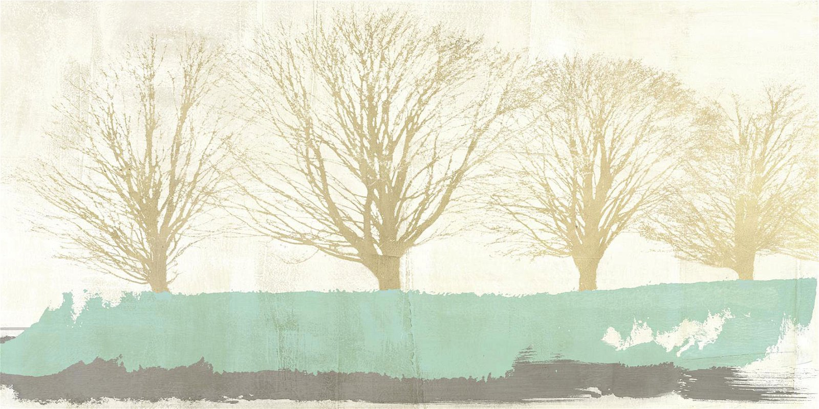 Cuadro canvas tree lines gold
