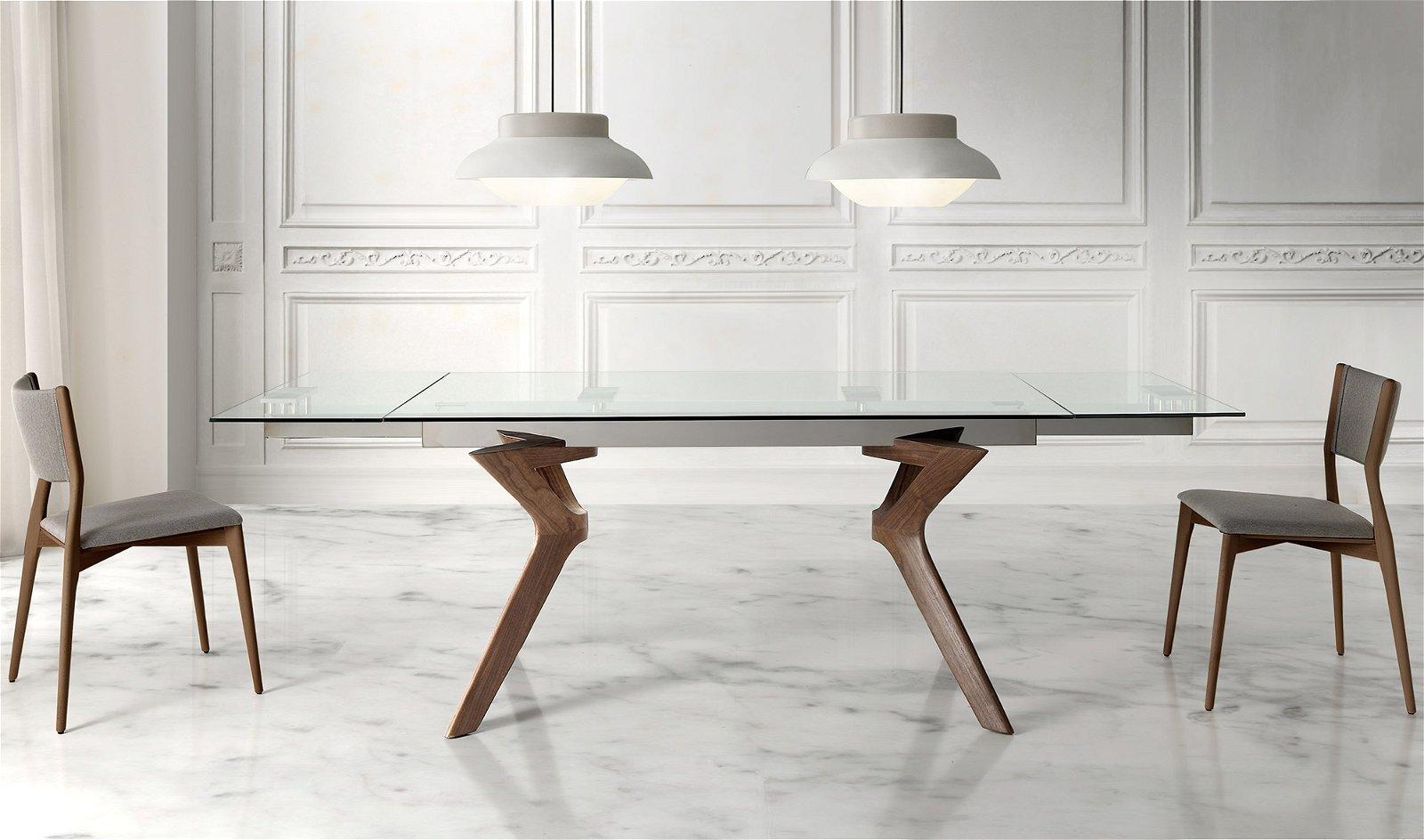 Mesa de comedor extensible cristal Lin
