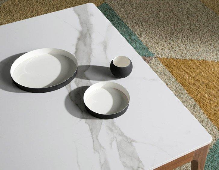 Mesa de centro nogal y ceramico Terin