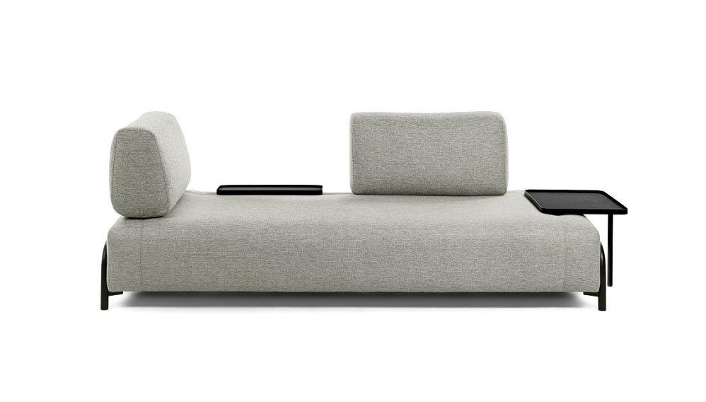 Sofá multifuncional gris 3 plazas Compo con bandeja
