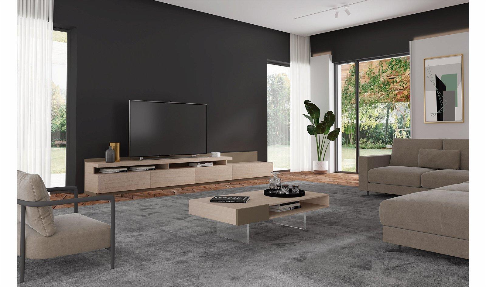Mueble tv con chimenea eléctrica Palermo by Bodonni