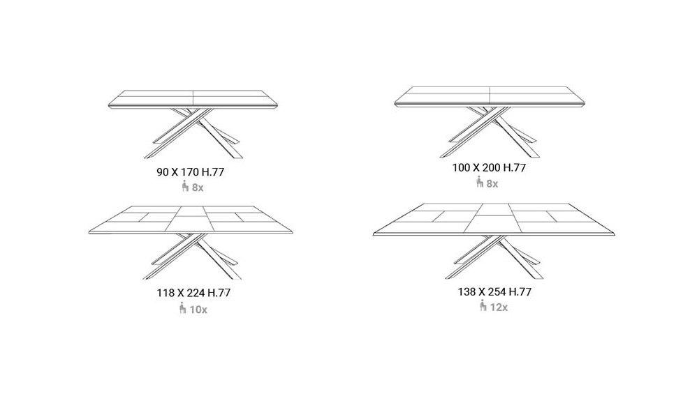 Mesa de comedor extensible roble salvaje 4x4 Ozzio