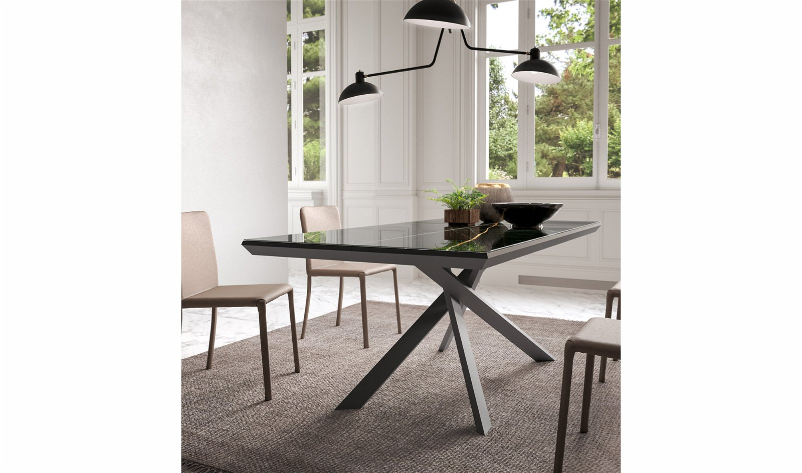 Mesa de comedor extensible cristal efecto marmol 4x4 Ozzio