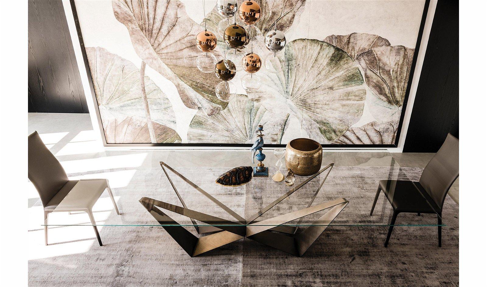 Mesa de comedor brushed bronze Skorpio Cattelan
