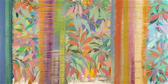 Cuadro canvas abstracto colores tropicales