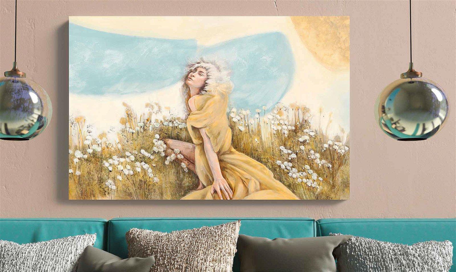 Cuadro canvas figurativo hada de los cielos