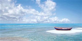 Cuadro canvas paisaje barca en la orilla
