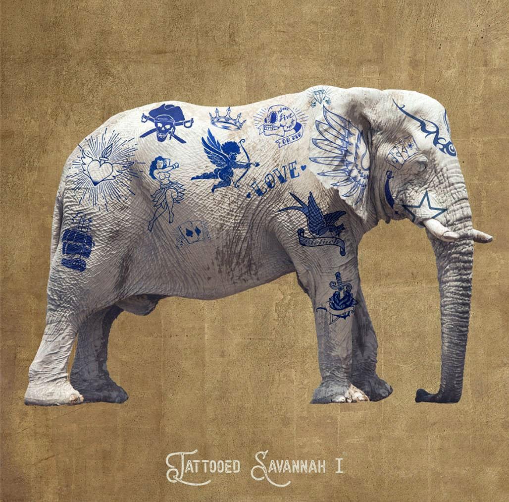 Cuadro canvas figurativo elefante tatuado