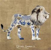 Cuadro canvas figurativo leon tatuado