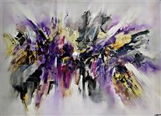 Cuadro pintura original violeta uno